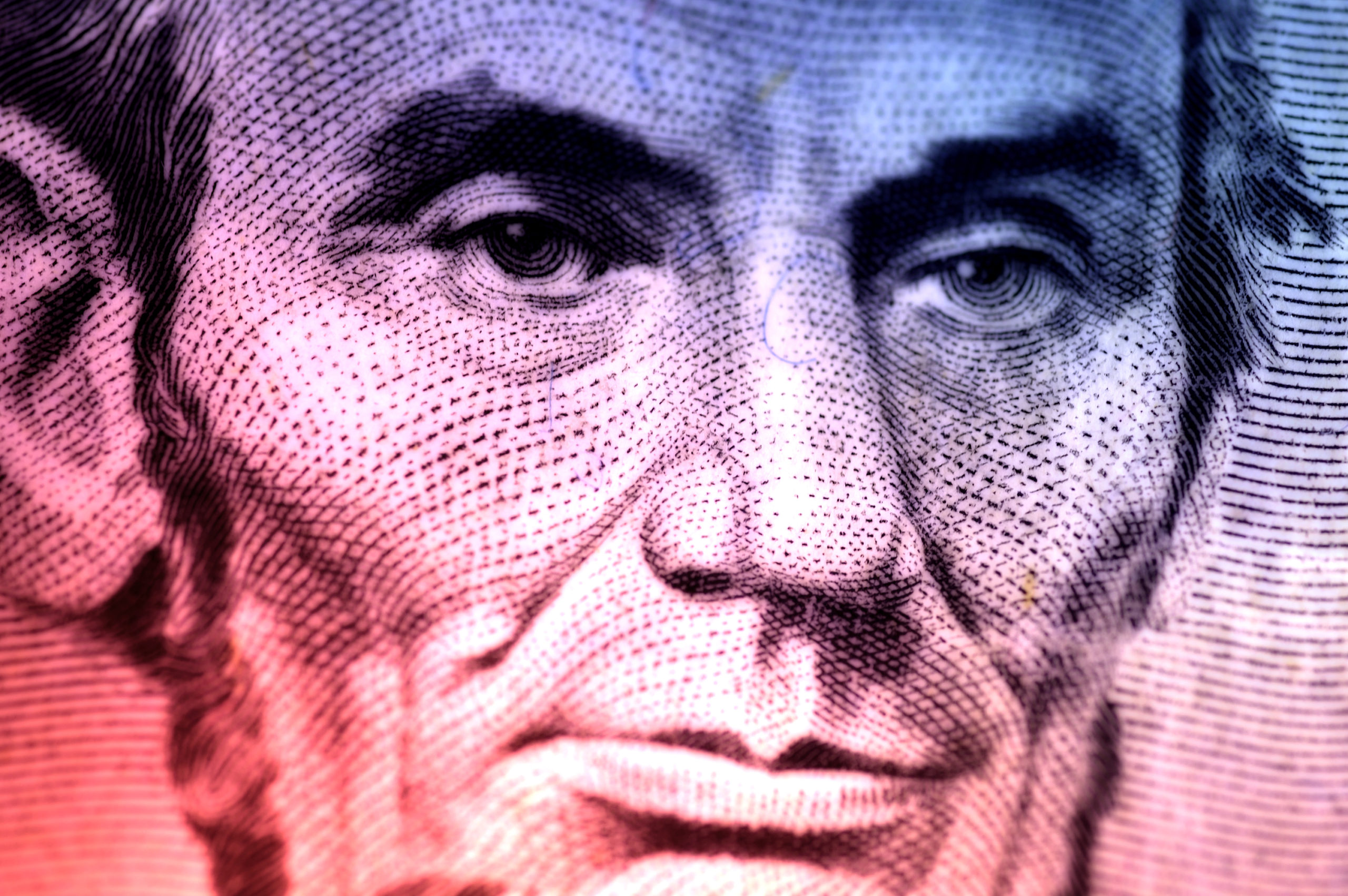 Photo of Abraham Lincoln On The Five Dollar Bill With Color and Blur Effect.