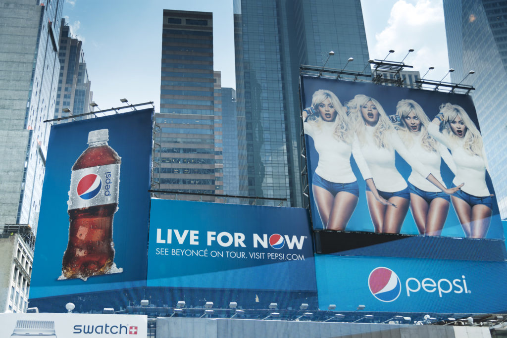 Billboard with Pepsi and Beyonce