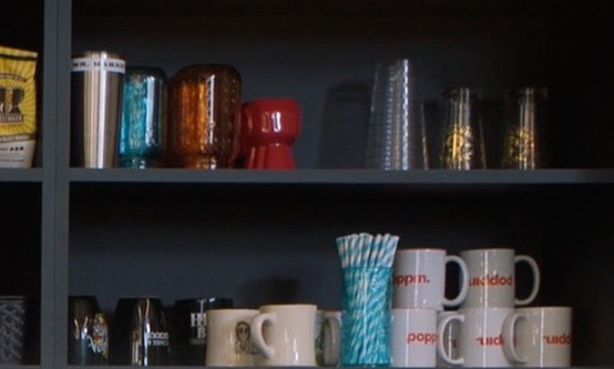 Poppin mugs on shelf