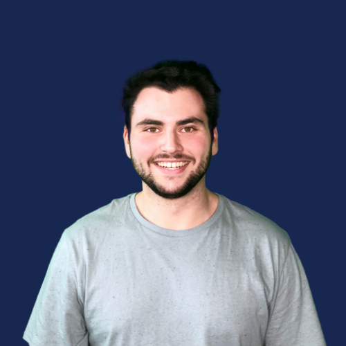 Jordan Coff portrait on blue background