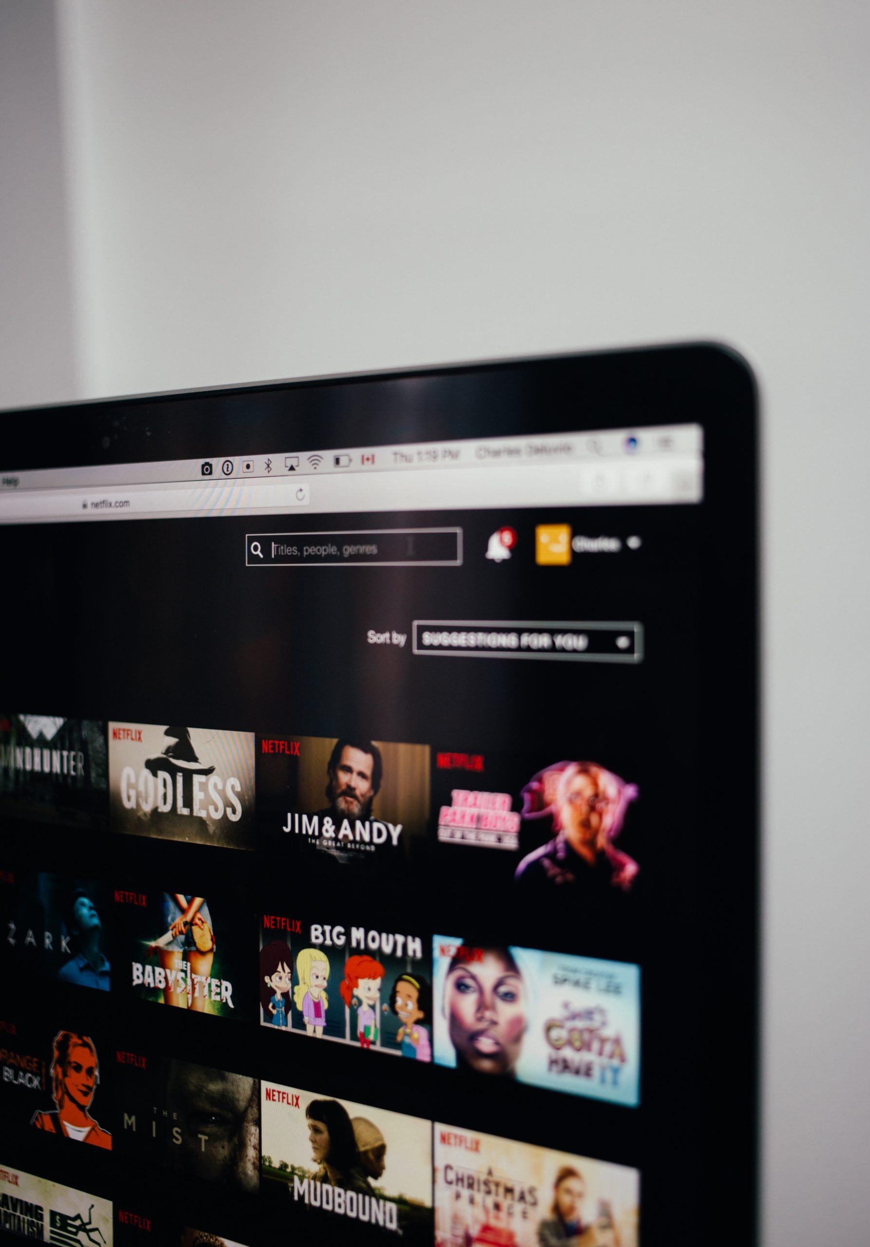 Netflix app opened on computer