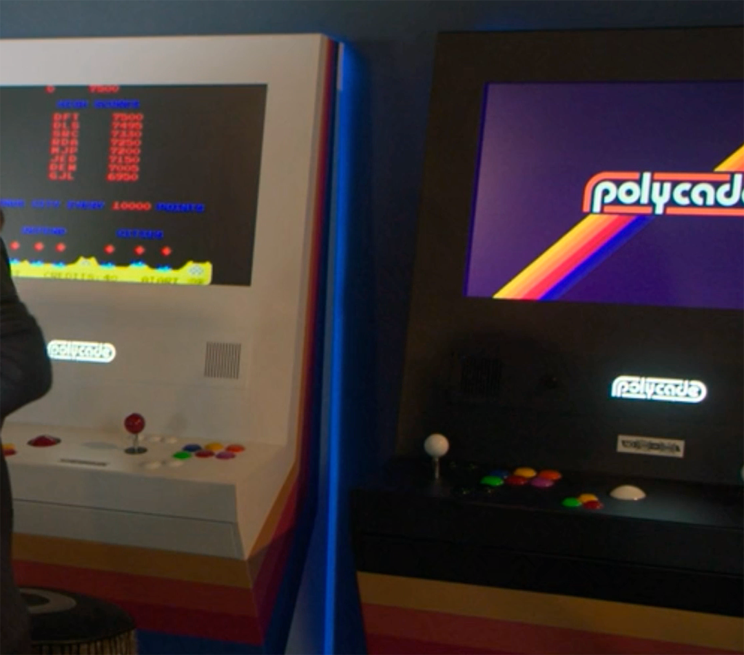 Black and white Polycade arcade machines