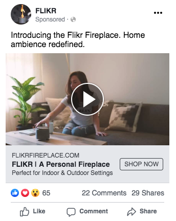 Flikr Fireplace Facebook Ad Screenshot