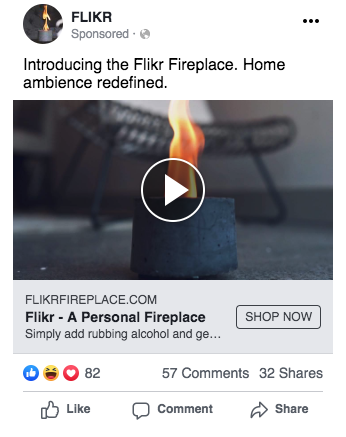 Flikr Fireplace Facebook Campaign Screenshot