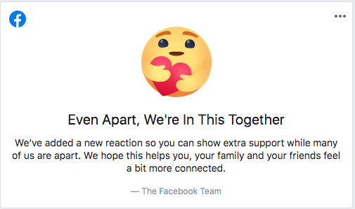 New care react on Facebook
